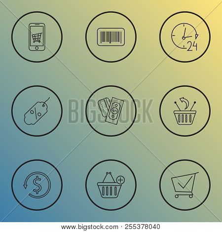 Commerce Icons Line Style Set With Discount, Returns, Barcode And Other Identification Elements. Iso
