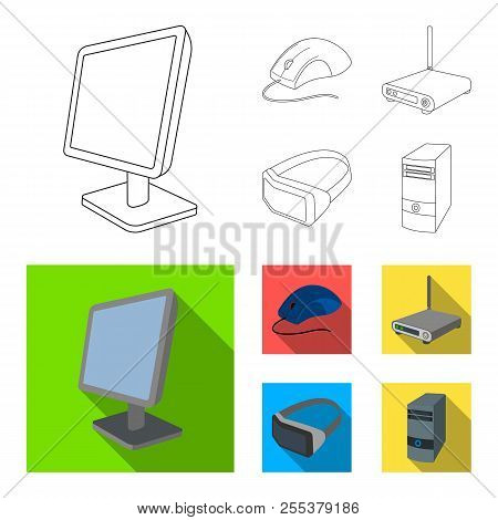 Monitor, Mouse And Other Equipment. Personal Computer Set Collection Icons In Outline, Flat Style Ve