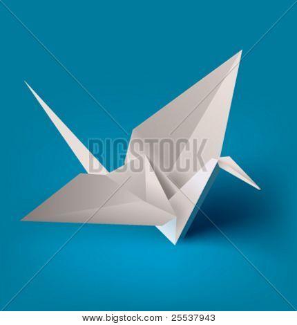 Vector realistic paper crane