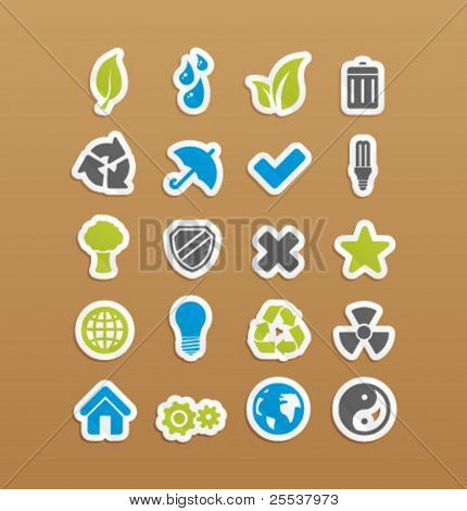 Vector environment icons on stickers