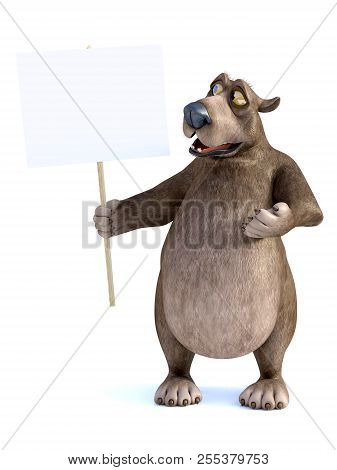 3d Rendering Of A Charming Smiling Cartoon Bear Holding A Blank Sign In His Hand. He Is Looking At T