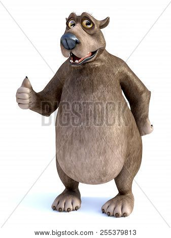 3d Rendering Of A Charming Smiling Cartoon Bear Doing A Thumbs Up. White Background.