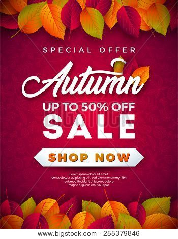 Autumn Sale Design With Falling Leaves And Lettering On Red Background. Autumnal Vector Illustration