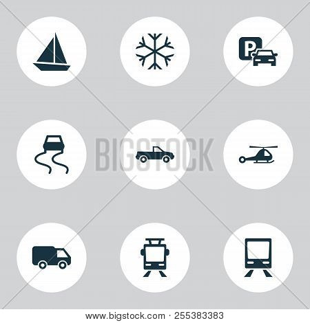 Transport Icons Set With Slippery Way, Pickup, Van And Other Frosty Elements. Isolated Vector Illust