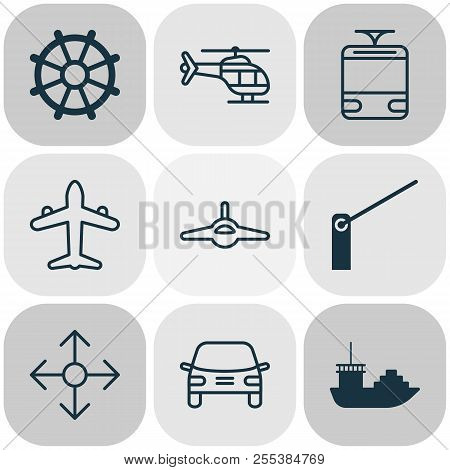 Transport Icons Set With Navigation, Cargo Boat, Air Transport And Other Flight Vehicle Elements. Is