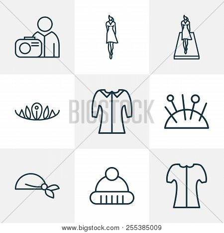 Icons Line Style Set With Model, Photograph, Mid Sleeve And Other Photographer Elements. Isolated Ve