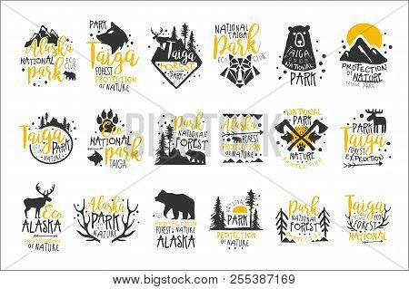 Alaska National Park Promo Signs Series Of Colorful Vector Design Templates With Wilderness Elements