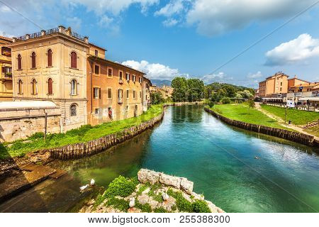 Rieti, Italy. April 29, 2018: Rieti, City Of Central Italy. Velino River With Ancient Houses And The