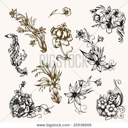 Vintage floral patterns for design