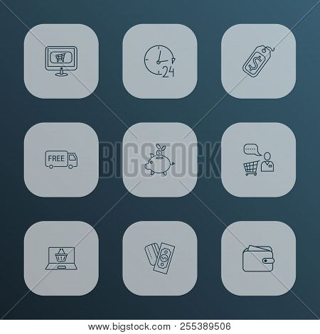 Ecommerce Icons Line Style Set With Wallet, Payments Option, Piggy Bank And Other Helpline Elements.