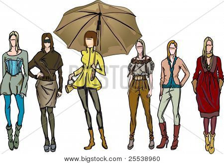 fashion girls illustration set