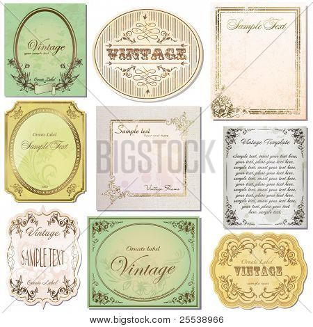 vector set vintage labels 6
