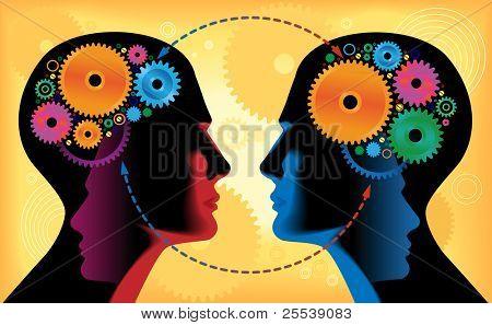 Zwei Köpfe von Menschen mit Mechanismen, Kommunikation, Getriebe