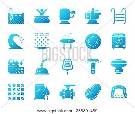 Swimming Pool Equipment Icons Set. Isolated Sign Kit Of Construction. Repair Pictogram Collection In