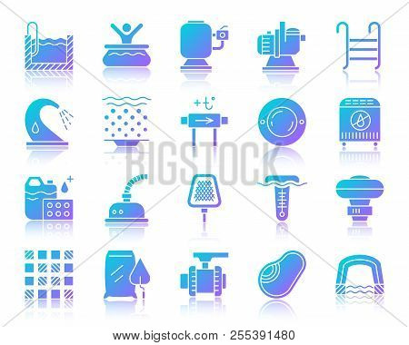 Swimming Pool Equipment Silhouette Icons Set With Reflection. Sign Kit Of Construction. Repair Vecto