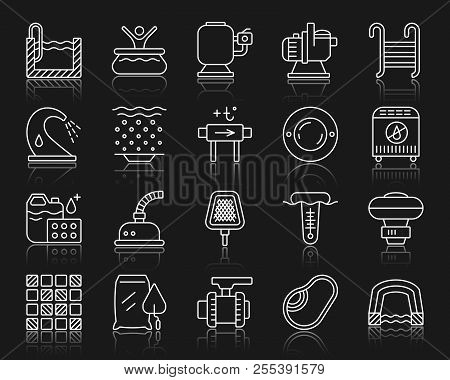 Swimming Pool Equipment Thin Line Icon Set. Outline Sign Kit Of Construction. Repair Linear Icons In