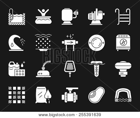 Swimming Pool Equipment Silhouette Icons Set. Isolated Sign Kit Of Construction. Repair Pictogram Co