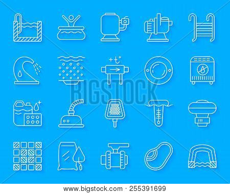 Pool Equipment Paper Cut Line Icon Set. 3d Sign Kit Of Construction. Repair Linear Pictograms Includ