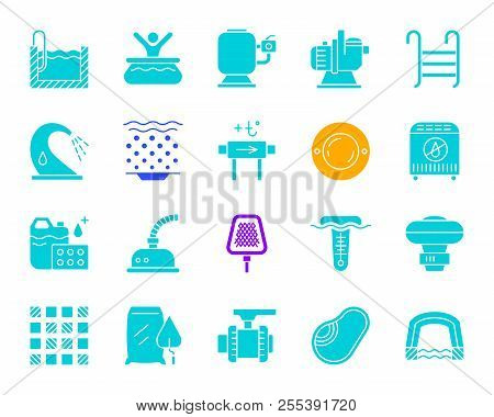 Pool Equipment Silhouette Icons Set. Isolated Sign Kit Of Construction. Repair Pictogram Collection