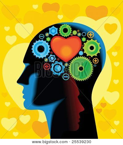 Head and Brain Gears in Progress.think about love