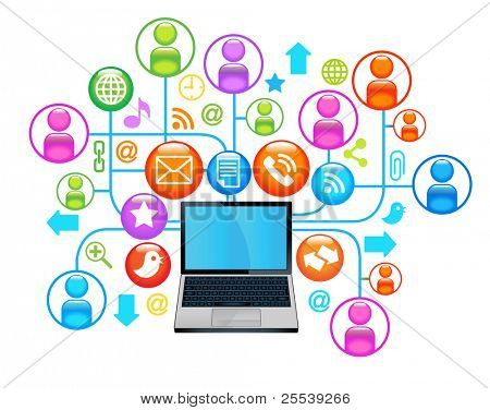 social network laptop.communication in the global computer networks