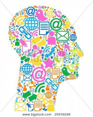 Communication-head.The development of global communications. Communication in mobile and internet networks