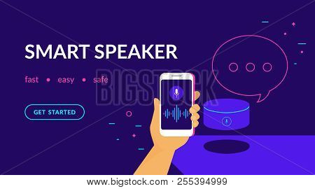 Smart Speaker, Voice Command Device With Integrated Virtual Assistant. Flat Vector Neon Website Temp