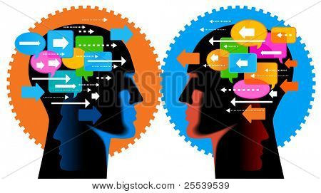 Communication-person.people talk, think