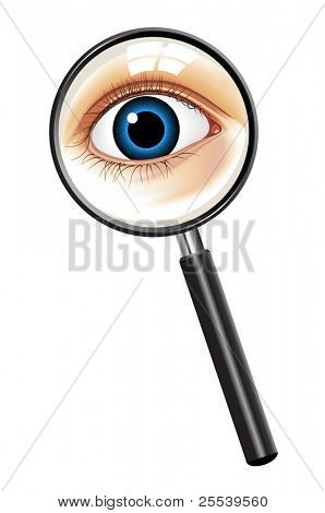 The blue eye of the person looks in magnifying glass