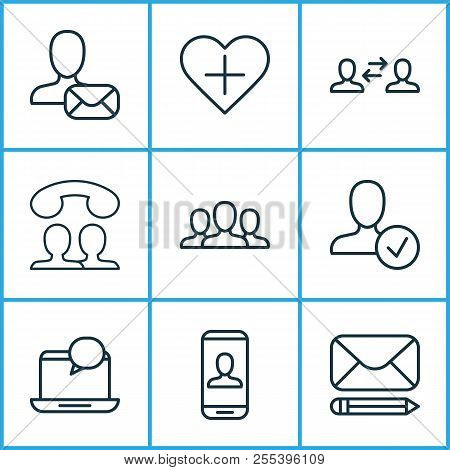 Communication Icons Set With Communication, Approv, Speaking People And Other Society Elements. Isol