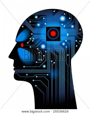 Human Head.figure the concept of artificial intelligence