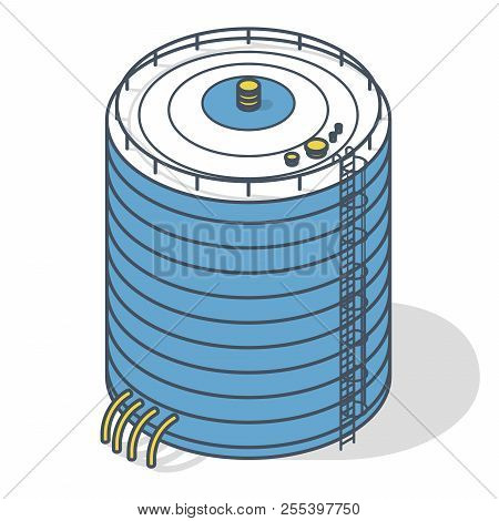Vector Water Reservoir Isometric Building Info Graphic. Outlined Water Reservoir. White Water Supply