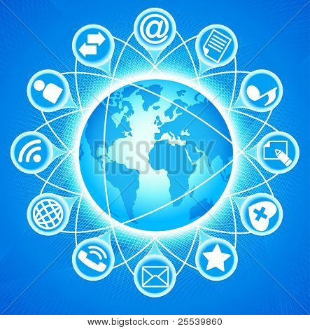 Social-Media-Globe.The development of global communications