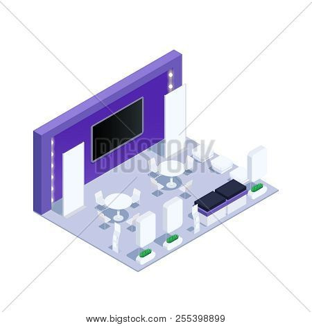 Isometric Exhibition Pavilion With Promotional Stands And Advertising Posters. Flyer Holder, Racks F