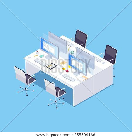 Isometric Concept Of Joint Workplace On Blue Background. Office Desktop For Four People. 3d Chairs,