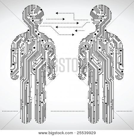 abstract figure of a man in the form of Circuit board.the communication between people with the help of modern technologies