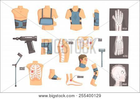 Orthopedic Surgery And Orthopaedics Attributes And Tools Set Of Cartoon Icons With Bandages, X-rays
