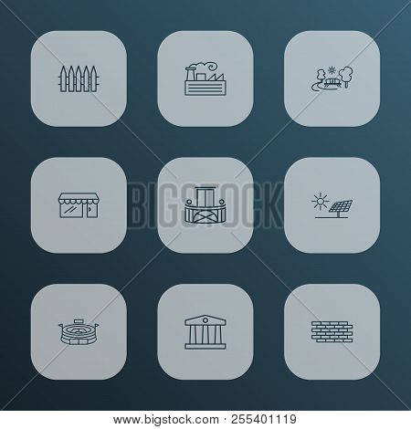 Public. Skyline Icons Line Style Set With Storefront, Brick Wall, Fabric And Other Terrace Elements.