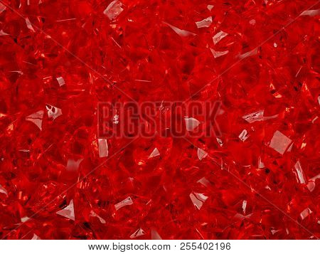 A Group Of Crystals On A Red Background