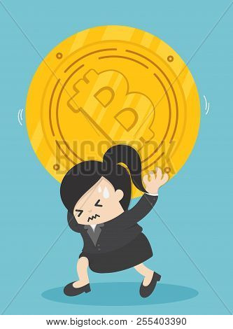 Businessman Carrying Bits Of Coin Depict The Downturn Of Bitcoin.