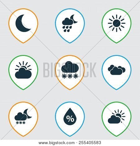 Weather Icons Set With Deluge, Overcast, Snow And Other Snowy Elements. Isolated  Illustration Weath