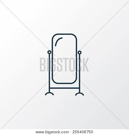 Floor Mirror Icon Line Symbol. Premium Quality Isolated Stand Vanity Element In Trendy Style.