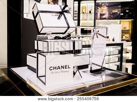 London, Uk - August 31, 2018: Chanel Perfume And Cosmetic Makeup Luxury Collection In Boutique Store