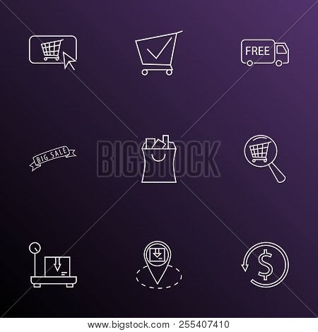 E-commerce Icons Line Style Set With Big Sale, Buy Button, Free Shipping And Other Trolley Elements.