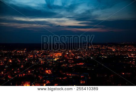 Night Aerial View Of The Populous With Many City Lights A