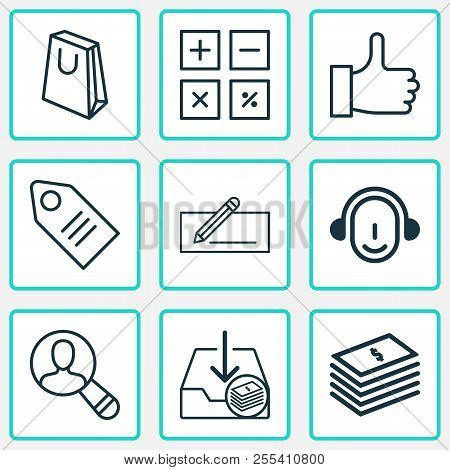 E-commerce icons set with paper money, badge, incoming earnings and other spectator elements. Isolated  illustration e-commerce icons. poster