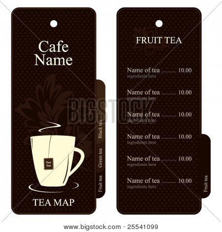 Vector. Tea map (menu). Full design concept