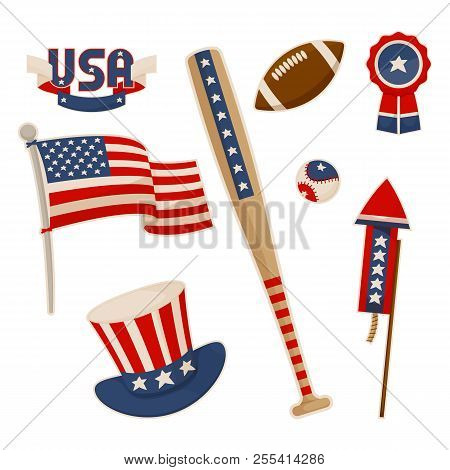 049b2e64735f America symbols collection vector baseball bat national american flag and  uncle Sam hat