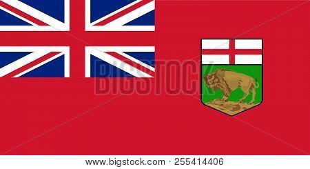 Vector Flag Of Manitoba Province Canada. Winnipeg