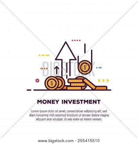 Found And Investment Concept. Bank And Investment, Financial Growth Banner. Golden Coins With Dollar
